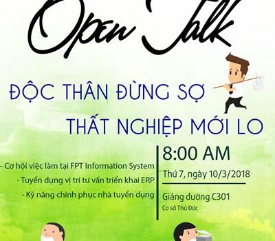 """Hội thảo Open Talk """"Độc thân đừng sợ – Thất nghiệp mới lo"""""""