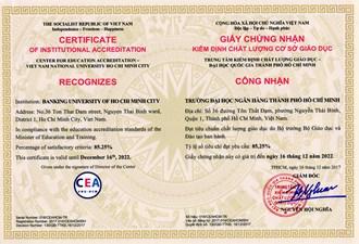 Trường Đại học Ngân hàng TP.HCM được cấp giấy chứng nhận kiểm định chất lượng cơ sở giáo dục...